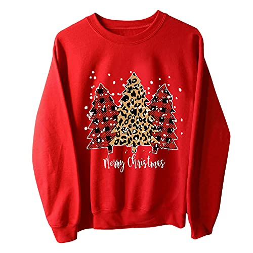 Christmas Sweatshirt for Women Funny Xmas Print Long Sleeve Pullover Tops Lightweight Workout...