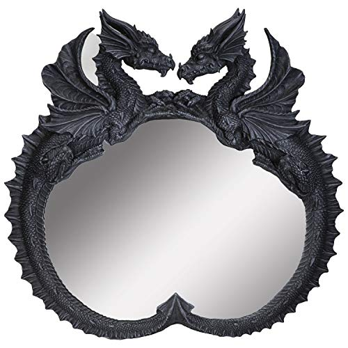 SUMMIT COLLECTION Twin Sentinel Double Dragon Wall Mirror Gothic Wall Grey Stone Sculptural Decor 26...
