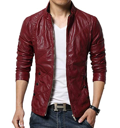 chouyatou Men's Cool Stylish Slim Fit Stand Collar Lightweight Bomber Faux Leather Jacket Coat...