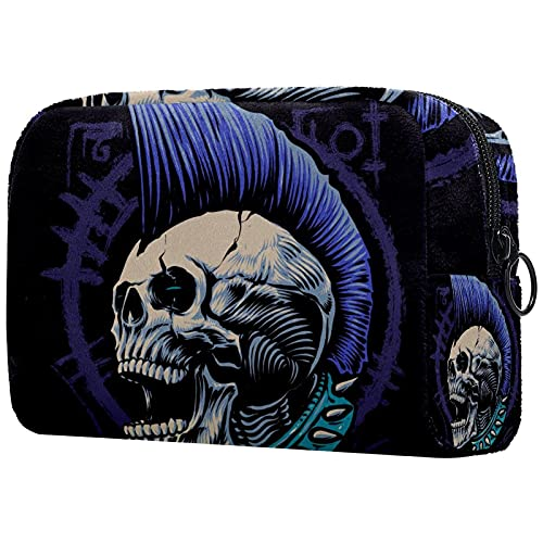 Makeup Bag for Purse Oxford Cloth Travel Cosmetic Pouch Punk Skulls Toiletry Bag for Women Girls...