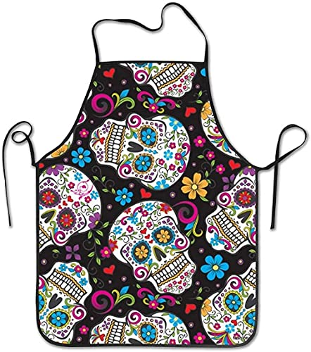 GaoPingSM Sugar Skulls Mexican Art Polyester Apron - Very Durable, Free from Harmful Chemicals and...