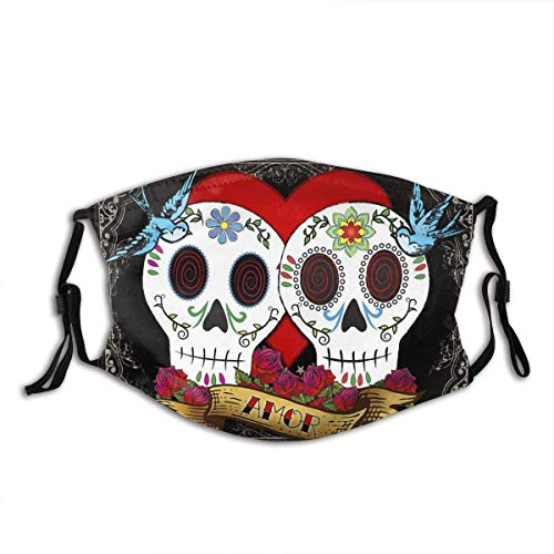 Sugar Skull Face Mask Breathable Anti Dust Mouth Balaclava with 2 Filter for Adult & Teens