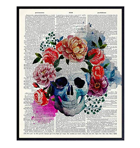 Mexican Gothic Home Decor - Skull with Flowers - Upcycled Dictionary Wall Art Print - Vintage 8x10...