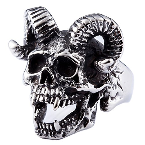 ZMY Home Mens Fashion Jewelry 316L Stainless Steel Rings for Men Punk Silver Demon Skull Ring (7)