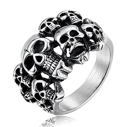 Cfbcc Stainless Steel Vintage Punk Rock Biker Multilayer Skull Ring Jewelry Gift for Him 8 Silver