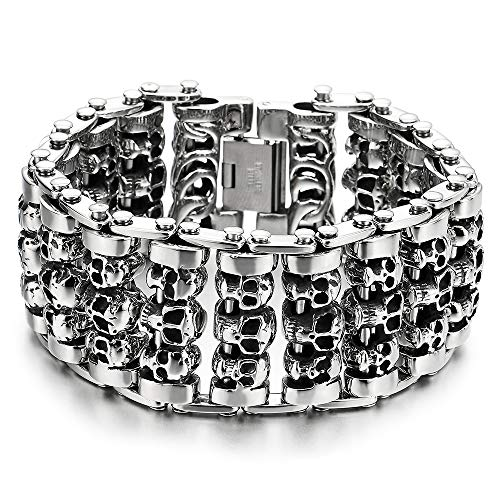 COOLSTEELANDBEYOND Heavy and Study Mens Steel Large Link Chain Motorcycle Bike Chain Bracelet with...