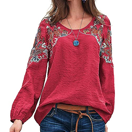 Mayntop Womens Tops Shirt Boho Retro Linen Embroidery Solid Color Plain Crew-Neck Broderie Anglaise...