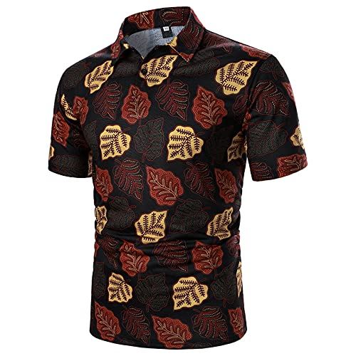 RUIY Paisley Polo Shirts for Men Lapel Short Sleeve Summer Tee Leisure Contrast Color Patchwork...