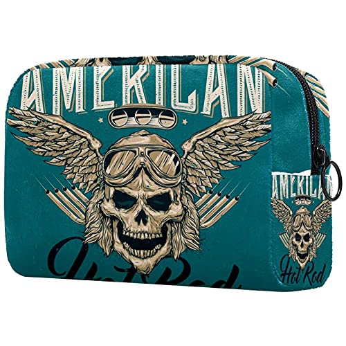 Soft Cosmetic Bag for Women Blue Skull Wings Adorable Roomy Makeup Bags Travel Toiletry Bag...