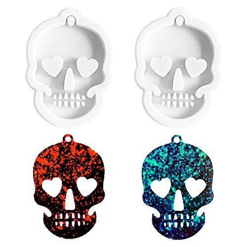 Nifocc Skull Silicone Mold Ghost Head Keychain Charms Epoxy Resin Molds Casting Molds with Hole for...