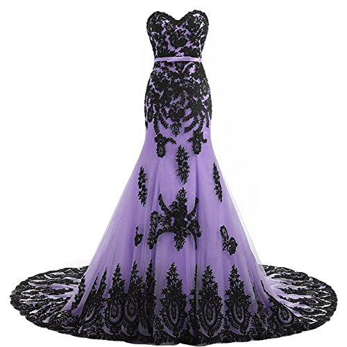 Long Mermaid Black Lace Vintage Gothic Prom Dress Wedding Evening Gown Lavender US 14