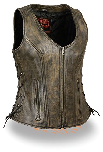 Milwaukee WOMEN'S MOTORCYCLE RIDERS DISTRESSED BROWN SOFT LEATHER VEST W/SIDE LACES NEW (Regular...