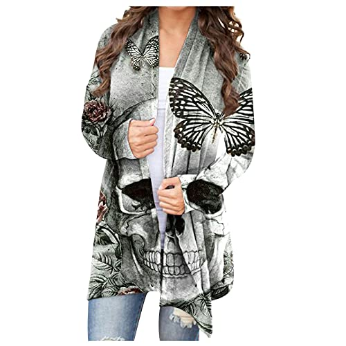 Womens Halloween Funny Sugar Skull Bones Ghost Graphic Tops Long Sleeve Open Front Cardigan Blouse...