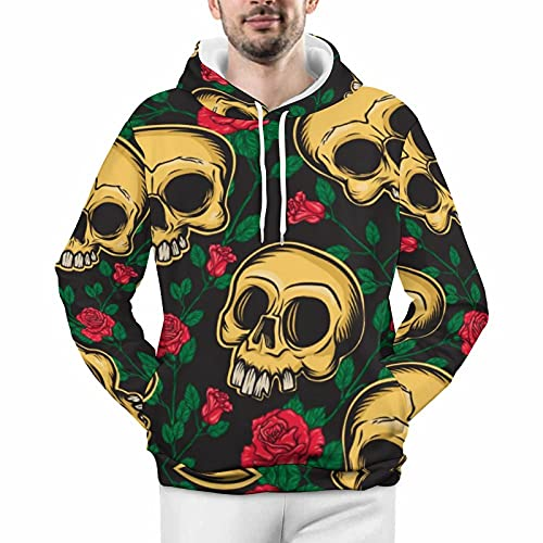 Day of The Dead Skulls And Flowers Mexican Style Unisex Thick Hoodie Comfortable Warm Sweatshirts...