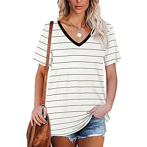 Satiable Women's Sexy Striped Print Side Slit V-Neck Short Sleeve Tops, Deep V Low-Cut Casual Summer...