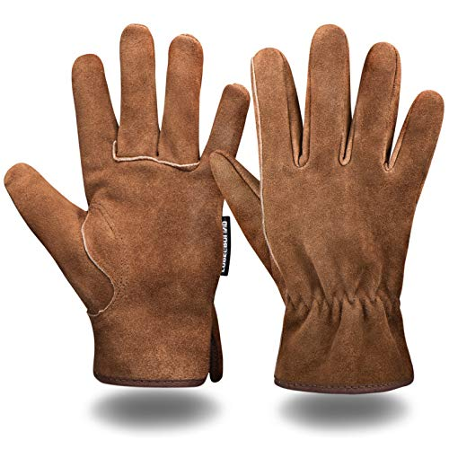 Leather Safety Work Gloves Gardening Carpenter Thorn Proof Truck Driving for Mens and Womens...