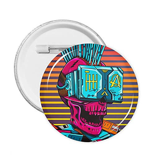 Skull Cyberpunk Round Badge Pin Button Decoration for Clothes Bags Hats Or Party Supplies
