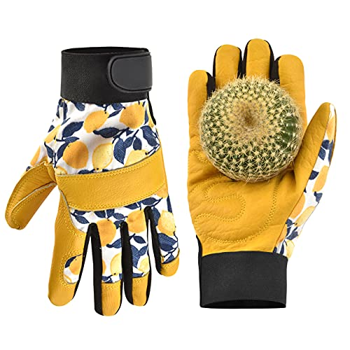 OIZEN Leather Tough Cowhide Work Gardening Gloves for Women Thorn Proof ,Working Gloves for Weeding,...