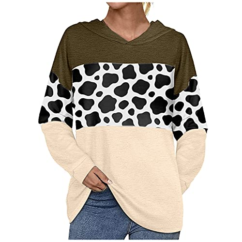 Women's Stitching Printed T-Shirts Top Casual Long-Sleeved Pullover Tunics