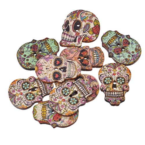 Worlds 50PC Wooden Buttons 2 Holes Mixed Skull Wooden Sewing Buttons for Scrapbooking and Crafting...