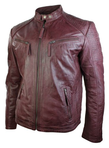 Mens Fitted Retro Style Zipped Biker Jacket Real Leather Burgandy Wine Urban