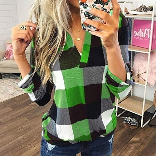 ZDFER Plaid Shirts for Women, Lapel 1/4 Button Down Pullover Long Sleeve Tunic Casual Blouse Tops...