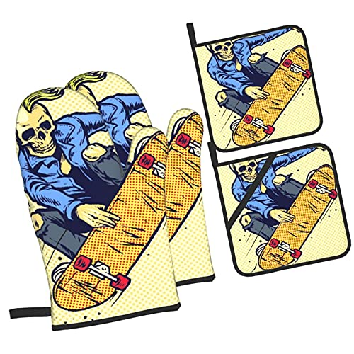 Hand Drawing Style Skull Play Skateboarding,Oven Mitts and Pot Holders Sets of 4 Pcs,Heat Resistant...