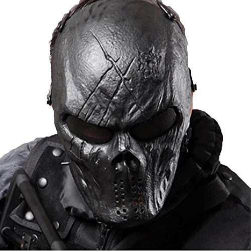 Tactical Mask Skull Full Face with Metal Mesh Eye Protection-Airsoft/BB Gun/CS Game-Zombie Masks...