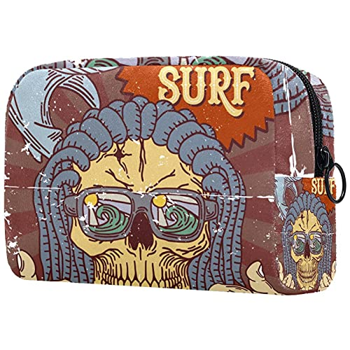 Makeup Cosmetic Bag Coin Purse Travel Cosmetic Pouch Toiletry Bag retro eat sleep surf repeat skull