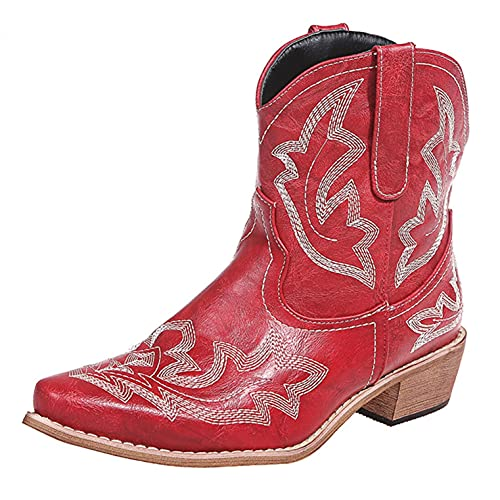 Gyouanime Western Boots for Ladies Womens Vintage Boots Winter 2021 Fashion Embriodery Ankle Boots...