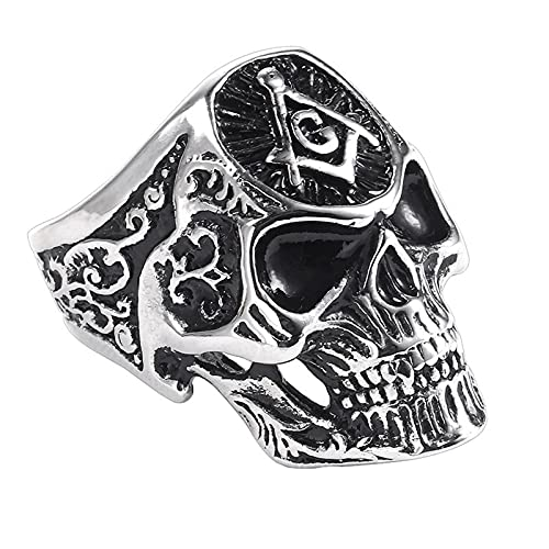 Exaggerated Skull Shape Ag Masonic Pattern Ring Men'S Ring Fashion Metal Accessories Party Jewelry...