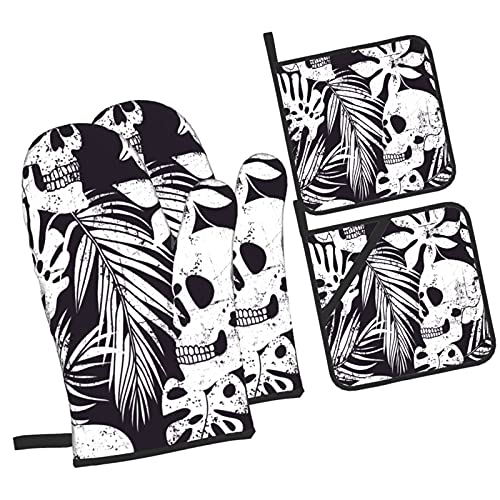 Skull and Leaves Skull Leaf Drawing Design,Oven Mitts and Pot Holders Sets of 4 Pcs,Heat Resistant...