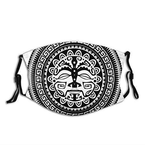 Windproof Activated Carbon mask Facial Decorations,Ethnic Oriental Folklore Mask Motif with Swirls...