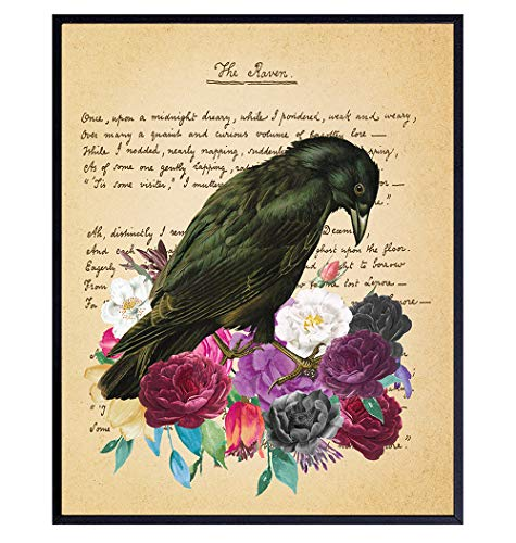 Edgar Allan Poe Gifts - The Raven - Gothic Living Room Decor - Medieval Decor - Wicca, Wiccan,...