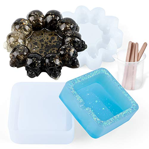 Resin Molds Sets, Resin Silicone Mold, Skull Mold Resin, Square Ashtray Mold Silicone with Silicone...