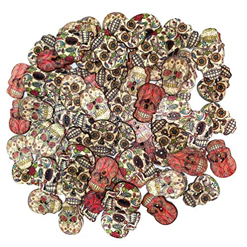 Wood Buttons Skull Novelty Buttons for Themes Holidays and Seasons for DIY Crafts Scrapbooking...