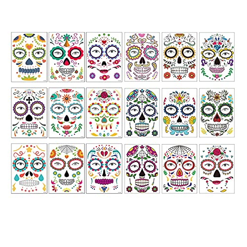 Temporary Tattoos-Halloween Temporary Face Tattoos-9/9/18 Sheets-Day of the Dead Sugar Skull Floral...