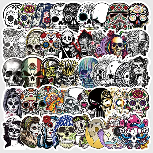 (Skull)50 PCS personalized vinyl waterproof sticker pack, cute and cool stickers for adults and...