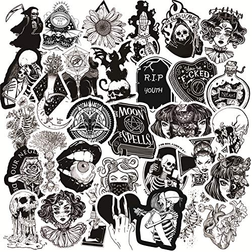 50PCS Gothic Stickers for Water Bottle,Black White Skull Stickers,Waterproof Vinyl Stickers Perfect...