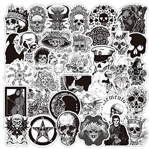 Gothic Skull Stickers for Laptops, 50PCS No Repeat Removable Vinyl Stickers for Water Bottle,...