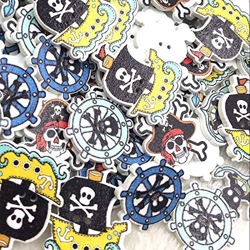 VIGOAT 100pc Mix Skull Head Wood Buttons Sewing Lots WB364