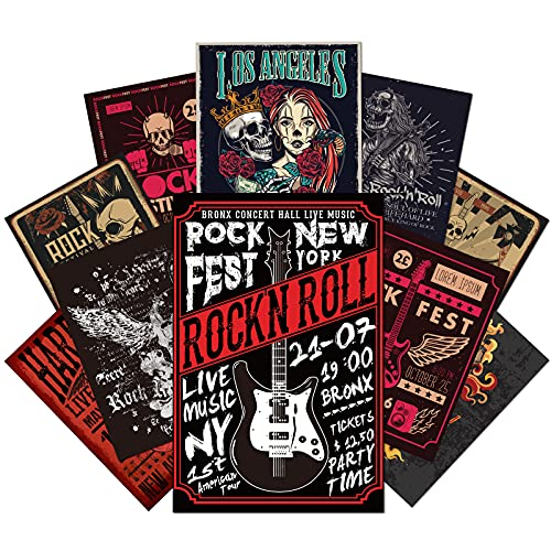 Outus 12 Pieces Rock Music Vintage Posters Retro Wall Decor Posters Cool Rock Band Posters Skull...