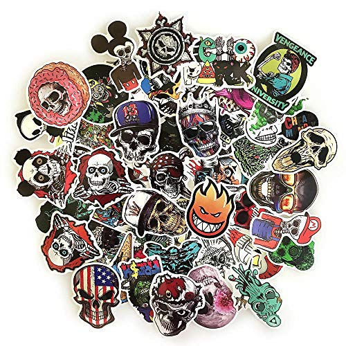 Skull Stickers Pack 50pcs for Laptop Water Bottle Crazy Vinyl Horror Skeleton Decals for Adults...