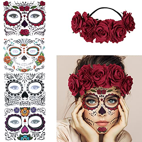 4 Kits Day of the Dead Sugar Skull Temporary Face Tattoo Makeup Tattoo for Men and Women with 1 Rose...