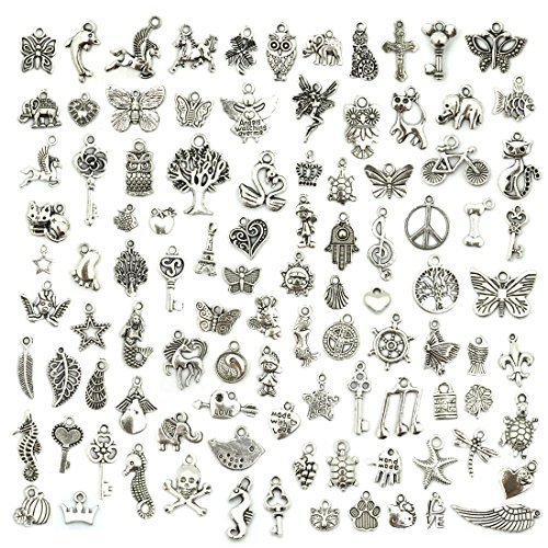 Wholesale Bulk Lots Jewelry Making Silver Charms Mixed Smooth Tibetan Silver Metal Charms Pendants...
