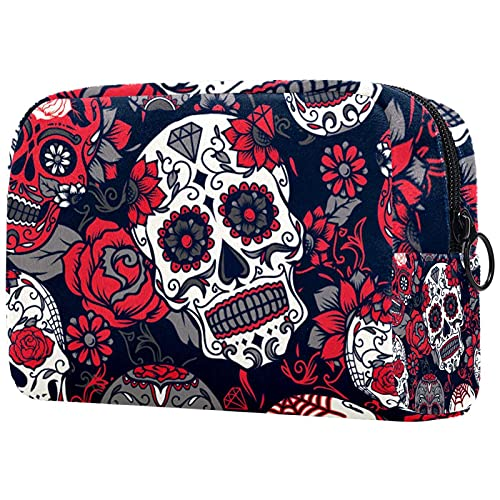 Makeup Cosmetic Bag Coin Purse Travel Cosmetic Pouch Toiletry Bag halloween sugar skull