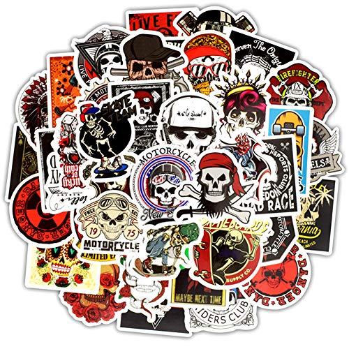 Honch Vinyl Sugar Skull Stickers Pack 50 Pcs Stickers Skull Decals for Laptops Ipad Cars Luggages...