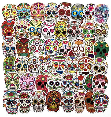 Sugar Skull Stickers and Decals, Dia De Los Muertos Stickers,for Halloween Theme Death Day Stickers...
