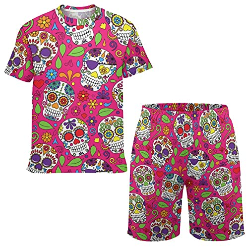 Kid's Short Sleeve 3D Print T-Shirt and Shorts Outfit Set, The Dead Sugar Skull Casual Workout Tee...