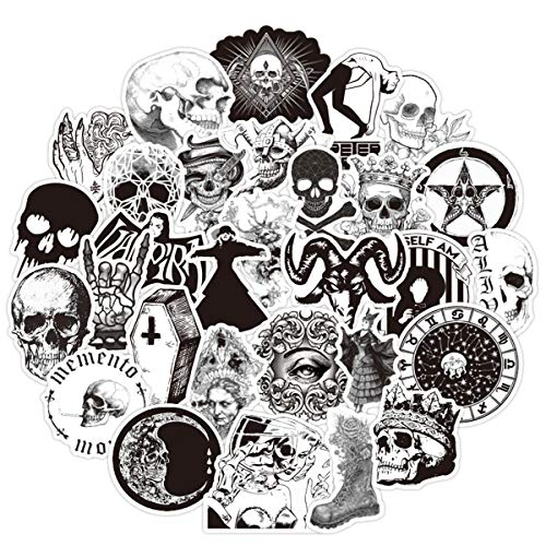 100PCS Gothic Stickers for Water Bottle,Black White Skull Stickers,Waterproof Vinyl Stickers Perfect...